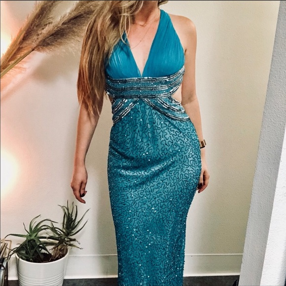 Adrianna Papell Dresses & Skirts - ADRIANNA PAPELL Turquoise Silk Beaded Gown Dress 4